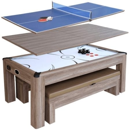 Driftwood Air Hockey Table Tennis Combo Set w/Benches